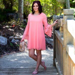 Beautiful bell sleeve pink dress